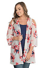 Peach Love Women's Off White with Red Floral Cold Shoulder Kimono