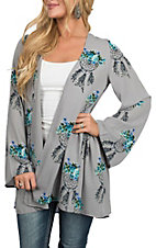 Berry N Cream Women's Grey Dream Catcher Kimono