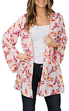 Berry N Cream Women's Pink Feather Print Kimono