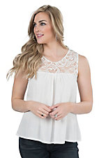 Panhandle Women's White with Lace Yoke Sleeveless Fashion Top