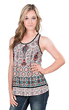 Panhandle Women's Tribal Print Sleeveless Casual Knit Top