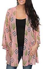 Berry N Cream Women's Pink Cactus and Tribal Print Kimono