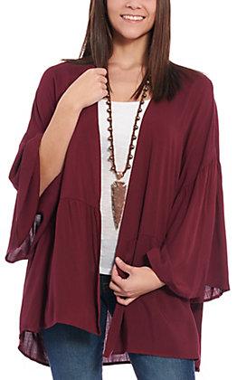 Berry N Cream Women's Maroon Bell Sleeve Kimono