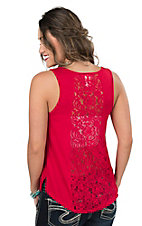 Panhandle Women's Red Lace Back Casual Knit Tank
