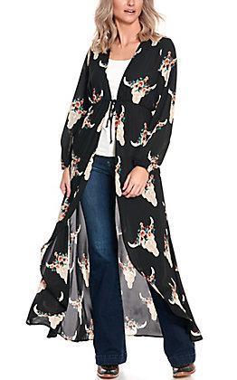 Berry N Cream Women's Black Floral Aztec Skull Print Long Sleeve Duster Kimono
