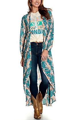 Berry N Cream Women's Teal & Coral Snake Print Long Sleeve Duster Kimono