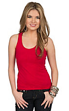 Panhandle Women's Red Knit Lace Back Tank Top