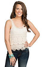 Panhandle Women's Cream Crochet Front Tank Top