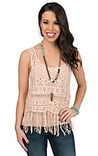 Panhandle Women's Peach Macrame Lace with Fringe Tank