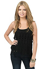 Panhandle Women's Black Macrame Lace with Fringe Tank