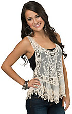 Panhandle Women's Cream Crochet and Lace Razorback Top
