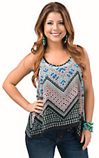 Panhandle Women's Black with Scarf Print Chiffon Flare Tank