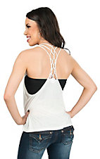 Panhandle Women's White Knit with Web Racer-back Tank