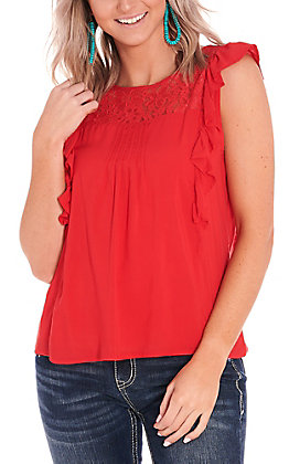Panhandle Women's Red with Lace Short Flutter Sleeves Fashion Top