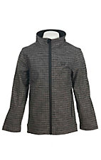 Cinch Boy's Grey Grid with Black Accents Long Sleeve Bonded Jacket