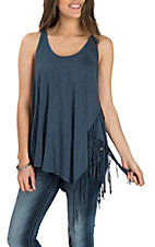 Panhandle Women's Blue Tank w/ Fringe Fashion Shirt