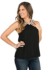 Panhandle Women's Black with Bling Straps Chiffon Sleeveless Fashion Top