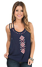 Panhandle Women's Navy Gauze with Aztec Embroidery Spaghetti Strap Sleeveless Casual Knit
