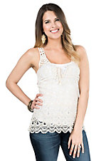 Panhandle Women's Cream Crochet with Front Tie Racerback Sleeveless Fashion Top