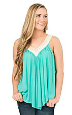 Panhandle Women's Turquoise with Crochet Neckline Sleeveless Fashion Top
