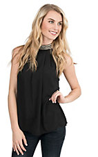 Panhandle Women's Black Chiffon with Silver Beaded Neck Sleeveless Halter Fashion Top