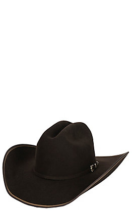 Justin 7X Chocolate Hooked with Two Tone Edge Felt Cowboy Hat