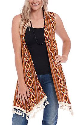 Panhandle Women's Aztec Print Crinkle Vest Kimono