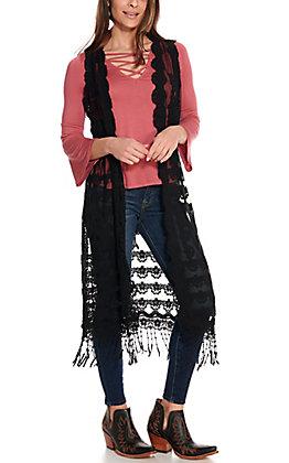 Panhandle Women's Black Lace Sleeveless Duster Vest