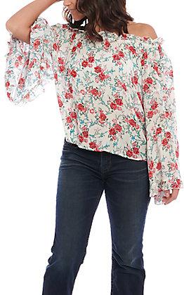 Panhandle Women's Floral Crinkle Peasant Blouse