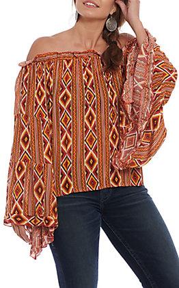Panhandle Women's Orange Aztec Print Long Bell Sleeve Peasant Blouse