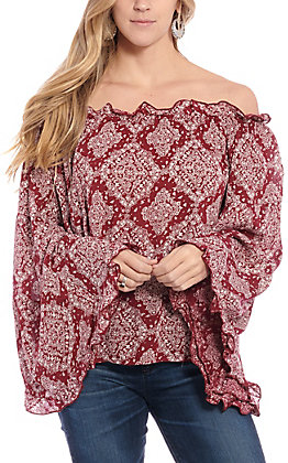 Panhandle Women's Maroon Printed Off the Shoulder Fashion Top