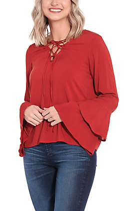 Panhandle Women's Red Bell Sleeve Fashion Top