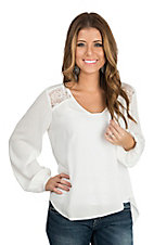 Panhandle Women's White Crinkle w/ Lace L/S Fashion Shirt