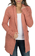 Panhandle Women's Coral Long Sleeve Sweater Cardigan