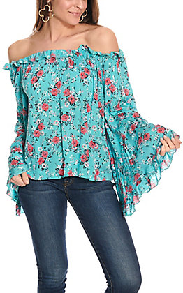 Panhandle Women's Turquoise with Pink Floral Print Long Bell Sleeves Fashion Top