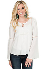 Panhandle Women's White with Lace Inset Long Bell Sleeve Blouse Fashion Top