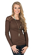Panhandle Women's Brown Waffle Knit with Lace Shoulders Long Sleeve Top