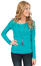 Panhandle Women's Turquoise Waffle Knit with Lace Shoulders Long Sleeve Top