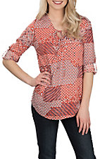Panhandle Women's Orange & Blue Print with Tie and Crossed Front L/S Fashion Shirt