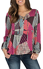 Panhandle Women's Pink Patchwork Print L/S Fashion Shirt