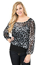 Panhandle Women's Grey & Black Leopard Print Chiffon Hi-Lo Long Sleeve Fashion Top