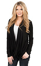Panhandle Women's Black Surplus Wrap Front Long Sleeve Causal Knit Top