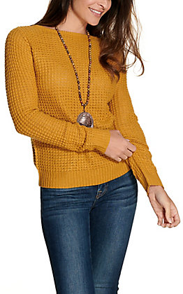 Panhandle Women's Mustard Cable Knit Criss Cross Back Sweater