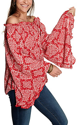 Panhandle Women's Red with White Bandana Print Long Bell Sleeves Crinkle Peasant Top