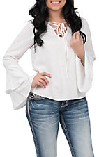 Panhandle Women's Lace Up Bell Sleeve Cream Fashion Top