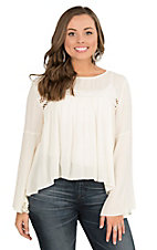 Panhandle Women's White with Crochet Detailing Long Bell Sleeve Peasant Fashion Top