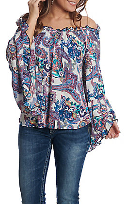 Panhandle Women's Blue Paisley Print Bell Sleeve Fashion Top