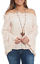 Panhandle Women's Peach Peasant Off the Shoulder Fashion Top