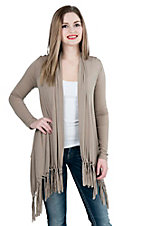 Panhandle Women's Taupe with Fringe Long Sleeve Cardigan