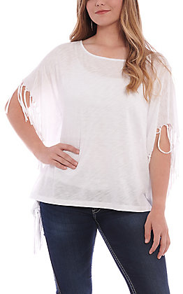 Panhandle Women's White With Fringe Poncho Fashion Top